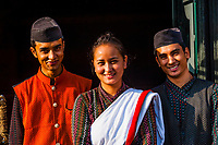 Men and woman wearing Nepalese traditional costume, Hotel Heritage, Bhaktapur, Nepal.
