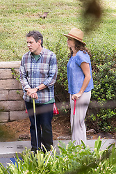 EXCLUSIVE: Minnie Driver plays miniature golf on set of 'Speechless' in Los Angeles, CA. 13 Sep 2017 Pictured: Minnie Driver and John Ross Bowie. Photo credit: MEGA TheMegaAgency.com +1 888 505 6342