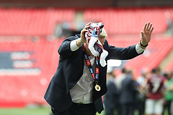 May 27, 2019 - London, England, United Kingdom - Aston Villa Manager Dean Smith bows to the Aston Villa fans after their Play Off final win during the Sky Bet Championship Play Off Final between Aston Villa and Derby County at Wembley Stadium, London on Monday 27th May 2019. (Credit Image: © Mi News/NurPhoto via ZUMA Press)