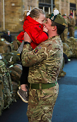 Pictured: Lance Corporal Lee Hill and his daughter Katie (three years old)<br /> Glencouirse Barracks saw off 100 soldiers from 2 SCOTS today as they prepared to deploy to Iraq on a six month training and mentoring mission. The soldiers will deploy on what is known as Operation Shader, on a six month tour which is a different challenge from their previous combat roles in the country. Just over 100 personnel will depart from Glencorse, to join the advance party which is already in the country.<br /> <br /> Ger Harley | EEm 4 December 2017