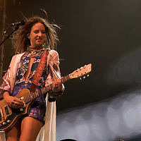 Vocalist Cato van Dijck plays on a guitar with her Dutch-New Zealand band My Baby at their concert on the A38 Stage at Sziget Festival held in Budapest, Hungary on Aug. 13, 2018. ATTILA VOLGYI