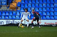 Tranmere Rovers midfielder Nya Kirby dribbles against Bolton Wanderers midfielder Ali Crawford during the EFL Sky Bet League 2 match between Tranmere Rovers and Bolton Wanderers at Prenton Park, Birkenhead, England on 23 January 2021.