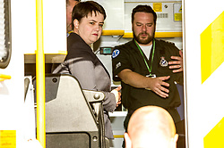 Pictured: Ruth Davison and Callum Johnston<br /> Scottish Conservative leader Ruth Davidson, MSP,  joined shadow health secretary Miles Briggs to launch the party's Health Advisory Board at the Scottish ASmbulance Service Southeast Divisional HQ.  Ms Davidson and Mr Briggs were shown the equipment in the average ambulance by Richard Paton, Ambulance Service manager and Callum Johnston, Specialist medic.<br /> <br /> Ger Harley | EEm 7 March 2017