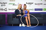 Aleksandra Soldatova with her coach Anna Dyachenko on Kiss and Cry at World Cup Pesaro 2018.<br /> Aleksandra Soldatova is a Russian individual rhythmic gymnast born in 1998.<br /> Her Nickname for the friends is Sasha.