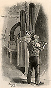 Operating the pressure pump which forced oil up to the burner on the Eddystone lighthouse. This was in the fifth Eddystone lighthouse built on the Stone 13 miles South-east of Polperro, Cornwall, England, designed by James Douglas, engineer to Trinity House, between 1878 and 1892.  Engraving from 'The Strand Magazine' (London, 1892).