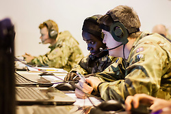 Soldiers of the 1st Artillery Brigade use the latest computer and communications technology to achieve their training objectives in exercise Steel Sabre. A large Scale military live fire exercise on Otterburn Training Area It involves 1400 troops the majority from the Royal Artillery 1st Artillery Brigade. The exercise brings all the components of an Artillery group together in a realistic scenario to train in delivering firepower on the battlefield.<br /> <br />   02 March 2017 <br />   Copyright Paul David Drabble<br />   www.pauldaviddrabble.co.uk