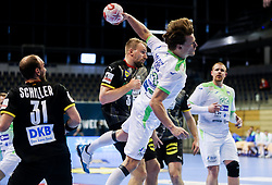 Jure Dolenec of Slovenia during handball match between National Teams of Germany and Slovenia at Day 2 of IHF Men's Tokyo Olympic  Qualification tournament, on March 13, 2021 in Max-Schmeling-Halle, Berlin, Germany. Photo by Vid Ponikvar / Sportida