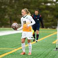 3rd year defender Cassie Longmuir (18) of the Regina Cougars in action during the Women's Soccer home game on October 21 at U of R Field. Credit: Arthur Ward/Arthur Images