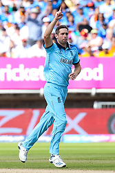 Chris Woakes of England celebrates taking the wicket of Rohit Sharma of India - Mandatory by-line: Robbie Stephenson/JMP - 30/06/2019 - CRICKET - Edgbaston - Birmingham, England - England v India - ICC Cricket World Cup 2019 - Group Stage