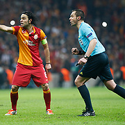 Referee's Stephane Lannoy (R) during their UEFA Champions League Quarter-finals, Second leg match Galatasaray between Real Madrid at the TT Arena AliSamiYen Spor Kompleksi in Istanbul, Turkey on Tuesday 09 April 2013. Photo by Aykut AKICI/TURKPIX