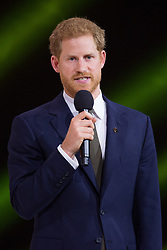 Prince Harry speaks on stage during the 2017 Invictus Games Opening Ceremony at the Air Canada Centre in Toronto, Canada on September 23, 2017. (Photo by Dominic Chan/Sipa USA)