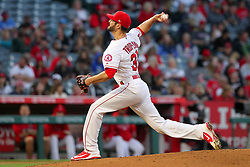 May 18, 2018 - Anaheim, CA, U.S. - ANAHEIM, CA - MAY 18: Nick Tropeano (35) of the Angels delivers a pitch to the plate during the major league baseball game between the Tampa Bay Rays and the Los Angeles Angels on May 18, 2018 at Angel Stadium of Anaheim in Anaheim, California. (Photo by Cliff Welch/Icon Sportswire) (Credit Image: © Cliff Welch/Icon SMI via ZUMA Press)