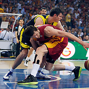 Fenerbahce Ulker's Darjus LAVRINOVIC (B) during their Turkish Basketball league Play Off Final fourth leg match Galatasaray between Fenerbahce Ulker at the Abdi Ipekci Arena in Istanbul Turkey on Saturday 11 June 2011. Photo by TURKPIX
