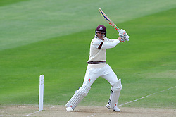 Somerset's Craig Overton drives the ball. Photo mandatory by-line: Harry Trump/JMP - Mobile: 07966 386802 - 26/05/15 - SPORT - CRICKET - LVCC County Championship - Division 1 - Day 3 - Somerset v Yorkshire - The County Ground, Taunton, England.