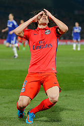 Edinson Cavani of Paris Saint-Germain looks frustrated after missing with a shot on goal - Photo mandatory by-line: Rogan Thomson/JMP - 07966 386802 - 11/03/2015 - SPORT - FOOTBALL - London, England - Stamford Bridge - Chelsea v Paris Saint-Germain - UEFA Champions League Round of 16 Second Leg.