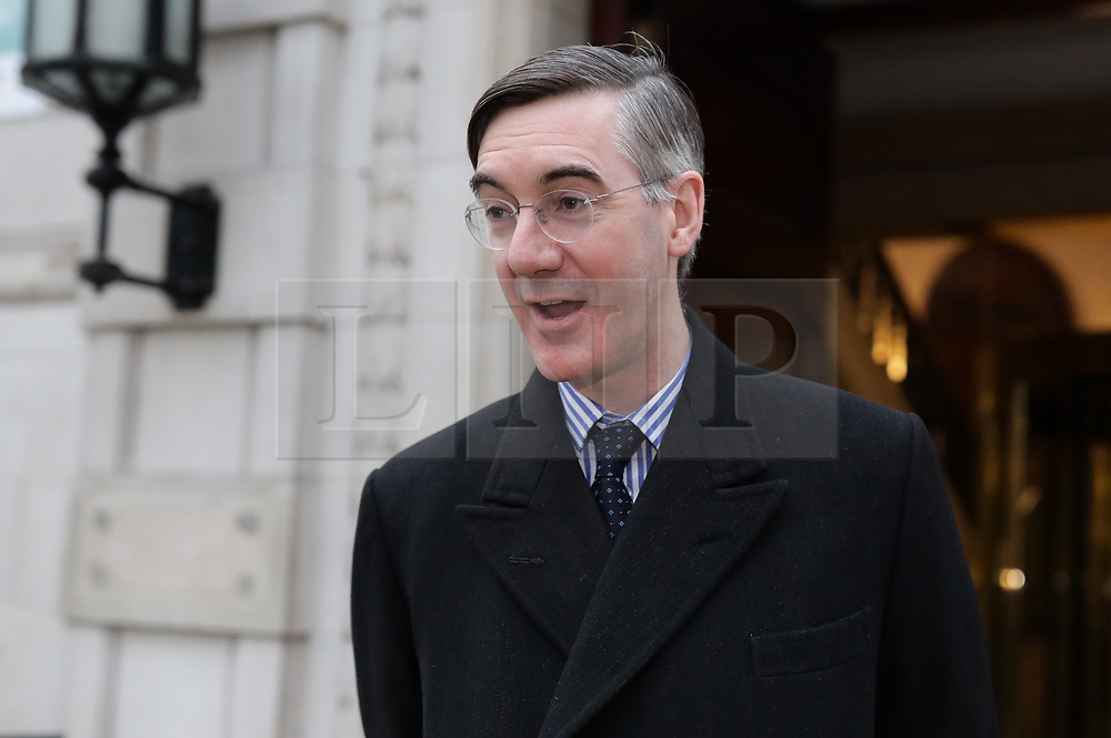 © Licensed to London News Pictures. 15/01/2019. London, UK. Brexiteer Jacob Rees-Mogg MP in Westminster. MPs will vote on Prime Minister Theresa May's Brexit deal this evening. Photo credit: Rob Pinney/LNP