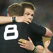 New Zealand captain Richie McCaw (right) congratulates Kieran Read after their victory during the New Zealand V Australia Semi Final match at the IRB Rugby World Cup tournament, Eden Park, Auckland, New Zealand, 16th October 2011. Photo Tim Clayton...