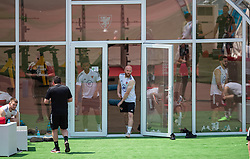 BAKU, AZERBAIJAN - Tuesday, June 8, 2021: Wales' Jonathan Williams emerges from his team's space-age looking marquee during a training session at the Tofiq Bahramov Republican Stadium on day one of their UEFA Euro 2020 tournament. (Pic by David Rawcliffe/Propaganda)