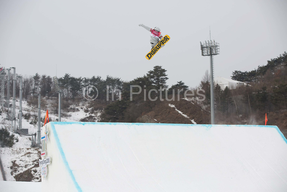 Kyle Mack, USA, at the mens snowboard big air finals at the Pyeongchang 2018 Winter Olympics on 24th February 2018, at the Alpensia Ski Jumping Centre in Pyeongchang-gun, South Korea