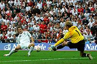 Photo: Tom Dulat.<br /> England v Estonia. UEFA European Championships Qualifying. 13/10/2007.<br /> Michael Owen of England in attempt to score. Goalkeeper of Estonia Mart Poom saved the ball.