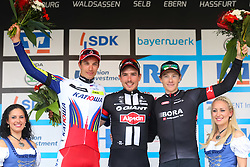 Radsport: 36. Bayern Rundfahrt 2015 / 5. Etappe, Hassfurt - Nuernberg, 17.05.2015<br /> Cycling: 36th Tour of Bavaria 2015 / Stage 5, <br /> Hassfurt - Nuernberg, 17.05.2015<br /> Siegerehrung - podium, # 46 Selig, Ruediger (GER, TEAM KATUSHA), # 51 Degenkolb, John (GER, TEAM GIANT - ALPECIN), # 112 Barta, Jan (CZE, Team BORA-ARGON 18)