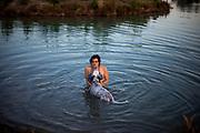 """English Setter Welpe """"Rudy"""" am 01.08. 2017 mit seiner besten Freundin im Teich von Stara Lysa, (Tschechische Republik).  Rudy wurde Anfang Januar 2017 geboren und ist vor einiger Zeit zu seiner neuen Familie umgezogen."""