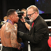 FORT LAUDERDALE, FL - FEBRUARY 15: Scott Burt presents Elvin Brito with a medal during the Bare Knuckle Fighting Championships at Greater Fort Lauderdale Convention Center on February 15, 2020 in Fort Lauderdale, Florida. (Photo by Alex Menendez/Getty Images) *** Local Caption *** Luis Palomino; Elvin Brito; Scott Burt