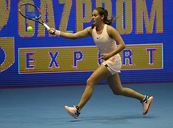 February 3, 2018 - St. Petersburg, Russia - Russia, St. Petersburg, on February 3, 2018. International female tennis tournament of WTA ''St. Petersburg Ladies Trophy2018''. In picture: Daria Kasatkina (Russia) at semifinal match of female single games on tournament ''St. Petersburg Ladies Trophy2018'' against Kristina Mladenovic  (Credit Image: © Andrey Pronin via ZUMA Wire)