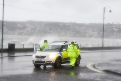 © Licensed to London News Pictures.03/02/2017. Police cordon off roads as Waves batter the coastline at  Penzance in Cornwall as the unofficially named storm DORIS hits the UK coast. Photo credit : Mark Hemsworth/LNP