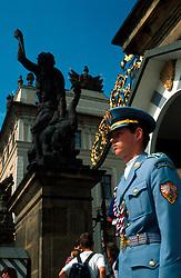 CZECH REPUBLIC BOHEMIA PRAGUE JUL96 - Prague Castle guards on duty at the north gate of Hradcany. ..jre/Photo by Jiri Rezac. . © Jiri Rezac 1995. . Tel:   +44 (0) 7050 110 417. Email: jiri@jirirezac.com. Web:   www.jirirezac.com