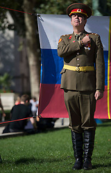 ©️ Licensed to London News Pictures. 01/09/2020. London, UK. Anti Brexit campaigner Steve Bray stands in front of Parliament in central London wearing a Russian military uniform in an attempt to highlight Russian influence in British politics. Photo credit: Marcin Nowak/LNP
