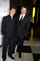 Left to right, actors HUGH DANCY and  JAMES PUREFOY at the 2004 British Fashion Awards held at Thhe V&A museum, London on 2nd November 2004.<br />