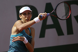May 23, 2019 - Paris, France - Geoggina Garsia Perez of Spain hits a return during her women's singles against Olga Danilovic of Serbia in the second round of the qualifications of Roland Garros, in Paris, France, on 23 May 2019. (Credit Image: © Ibrahim Ezzat/NurPhoto via ZUMA Press)