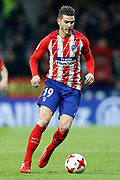 Atletico Madrid's French defender Lucas Hernandez runs with the ball during the Spanish Cup, Copa del Rey quarter final, 1st leg football match between Atletico Madrid and Sevilla FC on January 17, 2018 at Wanda Metropolitano stadium in Madrid, Spain - Photo Benjamin Cremel / ProSportsImages / DPPI