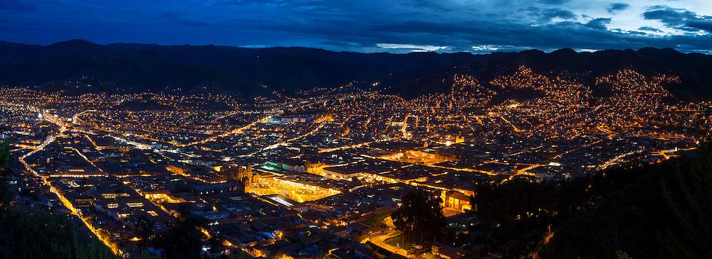 Twilight, view from Saksaywayman,  Cusco, Urubamba Province, Peru