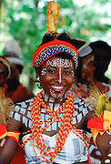 A village dancer in ornate costume at a village festival in Nigeria RESERVED USE - NOT FOR DOWNLOAD -  FOR USE CONTACT TIM GRAHAM