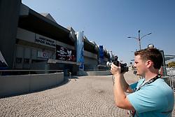 Journalist Jaka Lopatic of Siol Sportal filming in front of Abdi Ipekci Arena - Abdi Ipekci Spor Salonu na Ulasim two days prior to the 2010 FIBA Basketball World Championship, on August 26, 2010, in Istanbul,Turkey. (Photo by Vid Ponikvar / Sportida)