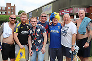 AFC Wimbledon fans enjoying the sun during the Pre-Season Friendly match between AFC Wimbledon and Queens Park Rangers at the Cherry Red Records Stadium, Kingston, England on 14 July 2018. Picture by Matthew Redman.