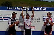 2006 FISA World Cup, Lucerne, SWITZERLAND, 09.07.2006 NZL M1X Mahe DRYSDALE Silver Medallist, left, NOR M1X, Olaf TUFTE Gold Medallist, centre, Bronze Medallist CZE M1X Ondrej SYNEK,  Photo  Peter Spurrier/Intersport Images email images@intersport-images.com, Finals Day, Morning A Finals. ....[Mandatory Credit Peter Spurrier/Intersport Images... Rowing Course, Lake Rottsee, Lucerne, SWITZERLAND.