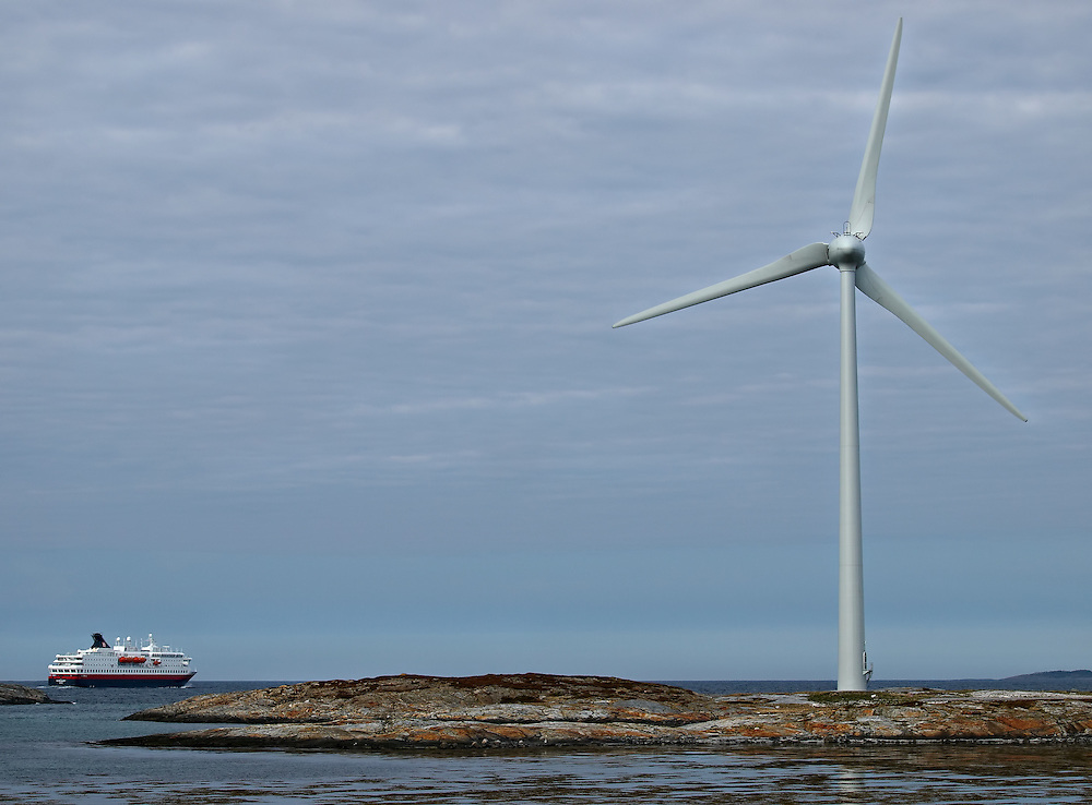 Norway - Wind power-plant and ferry