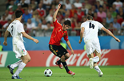 David Villa of Spain (7) vs Giorgio Chiellini of Italy (4) during the UEFA EURO 2008 Quarter-Final soccer match between Spain and Italy at Ernst-Happel Stadium, on June 22,2008, in Wien, Austria. Spain won after penalty shots 4:2. (Photo by Vid Ponikvar / Sportal Images)