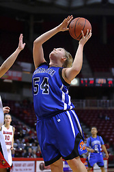 01 January 2009: Kristina Voss goes up strong from under the basket. The game between the Creighton Bluejays and the Illinois State Redbirds ended with the Redbirds on top by a score of 63-43 on Doug Collins Court inside Redbird Arena on the campus of Illinois State University, Normal IL.