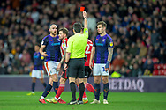 Danny Hylton (#9) of Luton Town FC is shown a red card during the EFL Sky Bet League 1 match between Sunderland AFC and Luton Town at the Stadium Of Light, Sunderland, England on 12 January 2019.