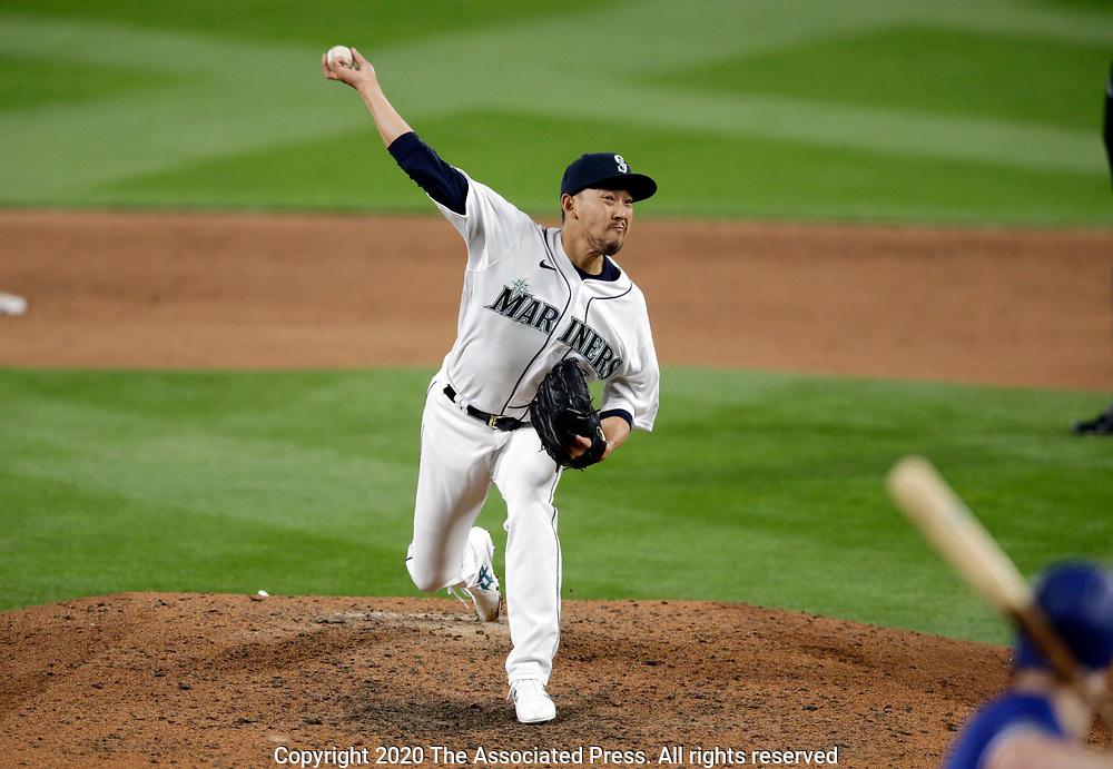 Seattle Mariners' Yoshihisa Hirano works against the Texas Rangers during ninth inning a baseball game, Saturday, Aug. 22, 2020, in Seattle. The Mariners won 10-1. (AP Photo/John Froschauer)