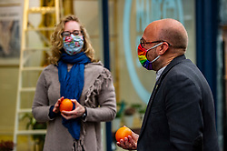 Pictured: <br />Scottish Greens co-leader Lorna Slater and Patrick Harvie were joined by Mid-Scotland and Fife candidate Mark Ruskell in Stirling  to discuss plans for a fair and green recovery from the pandemic.<br />Ger Harley | EEm 3 May 2021