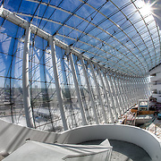 Construction progress in May 2011 on the Kauffman Center for the Performing Arts building by architect Moshe Safdie in downtown Kansas City, Missouri.