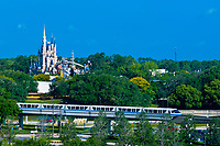 Monorail with Magic Kingdom behind, Walt Disney World, Orlando, Florida USA
