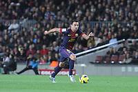 06.01.2013 Barcelona, Spain. La Liga day 18. Xavi Hernandez in action during game between FC Barcelona against RCD Espanyol at Camp Nou