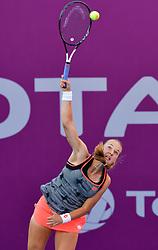 DOHA, Feb. 13, 2019  Anna Blinkova of Russia serves the women's singles first round match between Anna Blinkova of Russia and Anastasija Sevastova of Latvia at the 2019 WTA Qatar Open in Doha, Qatar, Feb. 12, 2019. Anna Blinkova won 2-0. (Credit Image: © Nikku/Xinhua via ZUMA Wire)