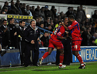 Photo: Tony Oudot/Sportsbeat Images.<br /> Queens Park Rangers v Crystal Palace. Coca Cola Championship. 04/12/2007.<br /> Clinton Morrison of Crystal Palace celebrates their second goal with Tom Soares watched by manager Neil Warnock